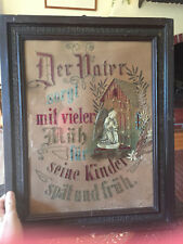 German Antique Victorian Paper Punch Needlepoint Picture Celluloid Angel Bling