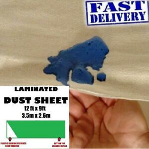 5 X POLY BACKED LAMINATED 12FT X 9FT 100% WATERPROOF COTTON DUST SHEETS EQ
