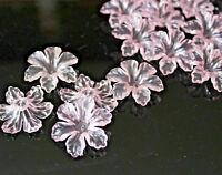10-25 Acryl Perlen Blüten transparent 30x30x10mm rose Schmuckbasteln DIY