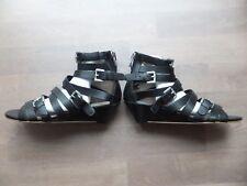 Bronx Damen Sandaletten Sandalen Keilabsatz Echt Leder Schwarz Gr.40 Neu