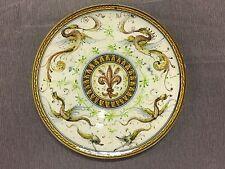 Early c.1890's Salvini Italy Signed Hand-Painted Raffaellesco Pottery Plate NR