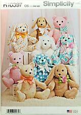 Simplicity R10397 Plush Stuffed Animals - Bear, Bunny & Dog Uncut Sewing Pattern