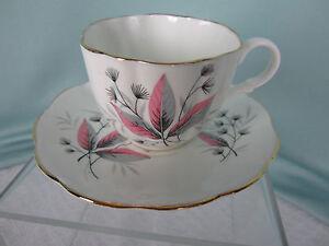 English Castle Tea Cup & Saucer C&S Bone China Staffordshire Pink Black England