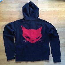 EMILY THE STRANGE Black Red Cat Sweater Hoodie Zip Coat Jacket ~ Goth Punk Emo