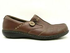 Clarks Brown Leather Split Toe Button Casual Slip On Loafers Shoes Women's 8.5 W