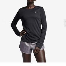 nike miler Long Sleeve Top Black Reflective/ Silver Uk Size S# 41