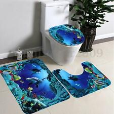 3Pcs/Set Bathroom Non-Slip Blue Sea Ocean Pedestal Rug+Lid Toilet Cover+Bath Mat