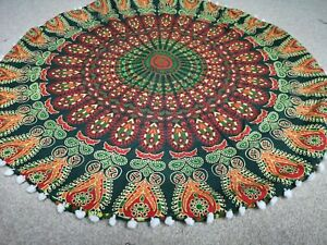 "Green Peacock Mandala Cotton Indian Handmade Large Round Floor Cushion Cover 32"""