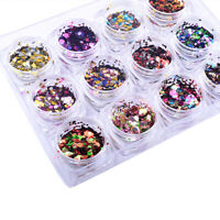 AM_ FP- Nail Art Glitter Round Confetti Sequins Acrylic Tips Decor Manicure DIY