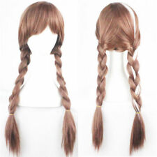 Brown Blonde Cosplay Princess Anime Ponytail Pigtails Braids Hair Full Wigs +Cap