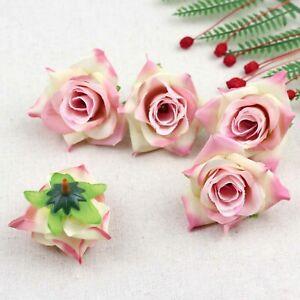 Fake Rose Artificial Silk Flower Heads Craft Wedding Decor 20-100Pcs(Pink)