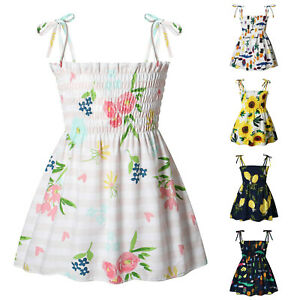 Toddler Baby Girl Summer Dress Sleeveless Floral Cotton Strappy Beach Dresses UK