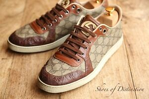 Men's Gucci Brown Canvas GG Monogram Shoes Trainers Sneakers UK 9 G US 10 EU 43