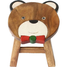 Shabby Chic Children Wooden bear  Stool Solid Pine Character Seat Step