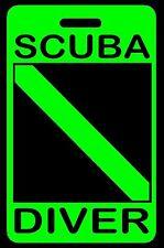 """Hi-Viz Green """"SCUBA DIVER"""" Luggage/Gear Bag Tag - New"""