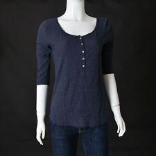 HOLLISTER Womens Round Hem 1/2 Button TOP SMall GREY-BLUE Elbow Sleeve Tee-Shirt