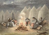 G.P., Rest: Soldiers by the Camp Fire – Original c.1880s watercolour painting