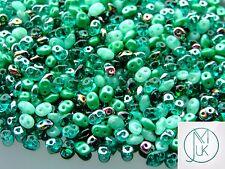 20g Czech SuperDuo Twin Beads Green Mix