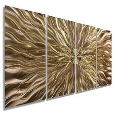 Modern Hand-Painted Abstract Metal Panel Wall Art - Copper Static by Jon Allen