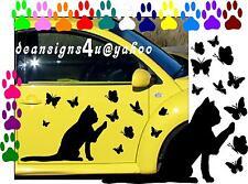2 LARGE Cats chasing 40 Butterflies BIG SET Car truck van Weather Proof mom girl