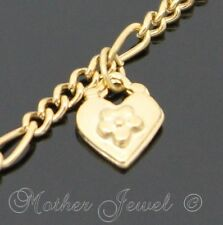 LOVELY GIFT IDEA YELLOW GOLD PLATED HEART FLOWER CHARM 18CM BRACELET 7 INCHES