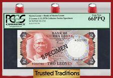 """Tt Pk 6b-Cs2 1978 Sierra Leone 2 Leones """"The Lion King"""" Pcgs 66 Ppq Gem!"""