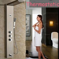 Wall Mount Thermostatic Shower Column Brushed Nickel Jets Hand Shower Tub Unit