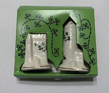 Irish Salt & Pepper Set Vintage Castles Carrigdhoun Pottery Ireland Euc Box