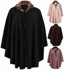 Womens Animal Faux Fur Collar Ladies Stretch Fleece Poncho Cape Coat Plus Size