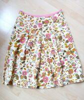 Ted Baker Skirt Size 1 Velvet Feel Jean Floral Lined Side Zip 100% Cotton