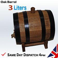 Wooden 3 L Liters Oak Barrel Wine Spirit Whiskey Bourbon FAST FREE DELIVERY 24h