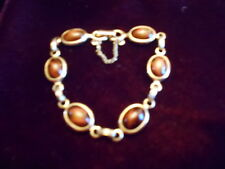 """Sarah Coventry Gold Tone Brown Stone 6 1/2"""" Bracelet Connecting Chain"""