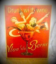 Leinwand Bild Drunk with Wein H=50,5x40,5 cm antik Rarität Vintage Deko