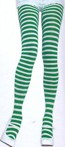 Leg Avenue Tights Opaque Striped Nylon Reg Red Green or Black and White 7100