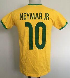 BRAZIL NEYMAR JR 10 YELLOW RETRO FOOTBALL TEE SHIRT SIZE MEN'S SMALL BRAND NEW