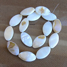 Marquise White Mother of Pearl Shell Beads Strand 15b Flat Oval