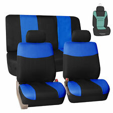 Flat Cloth Universal Seat Covers for Cars SUV Auto Van Full Set Blue w/ Gift