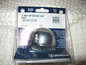 Attwood LED Sidelight Green Starboard Sealed Elect Stainless Housing 3530G7