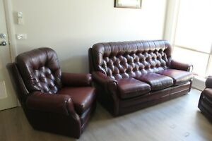 Burgundy Leather Chesterfield Style Lounge 3 Seat + 2 x 1 Chairs