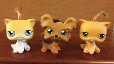 LITTLEST PET SHOP (YORKIE #398, YELLOW CAT #42, & ORANGE CAT #78) WITH HAIR