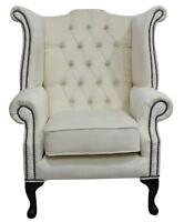 Chesterfield Queen Anne High Back Fireside Wing Chair Pimlico Oyster Fabric