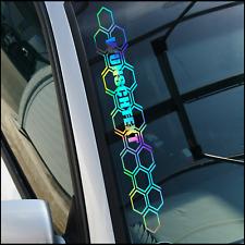 Autoaufkleber WUNSCHTEXT Wabenmuster Rauten Hologramm Oilslick | 55x8cm