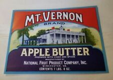 Mt Vernon Brand Apple Butter National Fruit Product Winchester Virginia Label