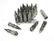 NNR Steel Extended Spline Wheel Lug Nuts w/ Spike 78mm Black Chrome 12x1.5 20pcs
