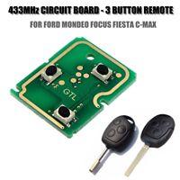 433 MHz 3 PULSANTE REMOTE CHIAVE CIRCUITO FOB PER FORD MONDEO FOCUS FIEST SCHEDA