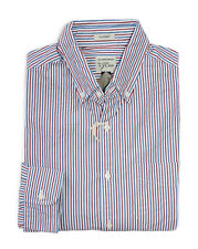 J Crew - Mens XL Classic Fit - NWT - Red/Blue Striped Secret Washed Cotton Shirt