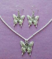 Silberfarben Schmetterling Amulett Halskette & Ohrringe Set - Neu