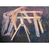 Vintage Modernist Still Life with Sawhorses (Oil on Board-Framed)