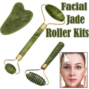 Jade Face Massage Roller Kits Beauty Tool Facial Neck Body Anti Ageing Therapy