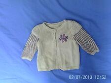 Baby Girls 3-6 Months - Green Cotton Knit Cardigan, Flower Motif - Mothercare